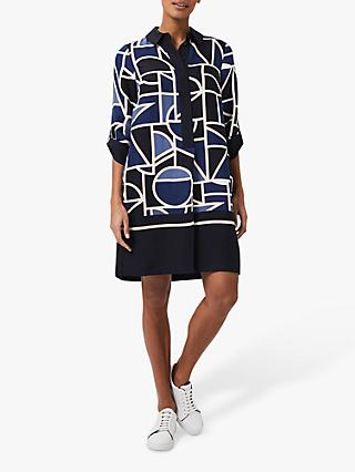 Hobbs Marci Floral Abstract Mini Dress, Blue/Multi