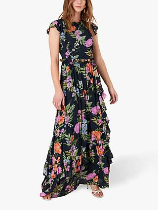 Monsoon Silvia Floral Maxi Dress, Navy