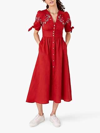 Monsoon Floral Midi Dress, Red
