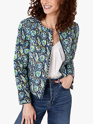 Monsoon Heritage Print Quilted Jacket, Navy