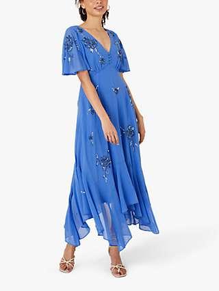 Monsoon Amira Embellished Midi Dress, Blue