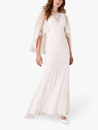 Monsoon Zoey Floral Cape Bridal Dress, Ivory