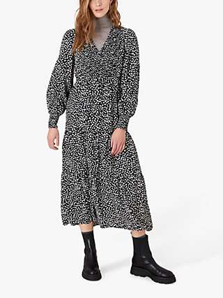 Monsoon Heart Print Midi Dress, Black