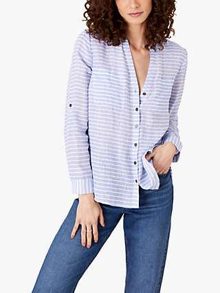Monsoon Stacy Button Front Linen Top, Blue