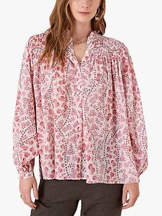 Monsoon Long Sleeve Floral Print Top, Ivory/Pink