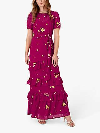 Monsoon Lexie Floral Tiered Maxi Dress, Pink