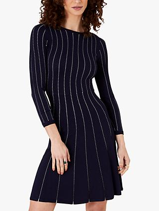 Monsoon Stitch Detail Dress, Navy