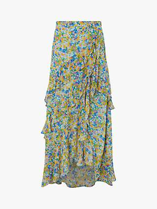 Monsoon Louis Dealtry Print Maxi Skirt, Blue