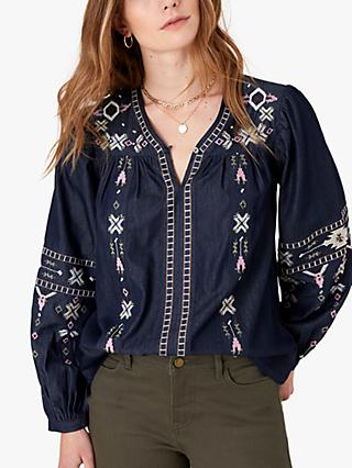 Monsoon Embellished Boho Top, Denim Blue