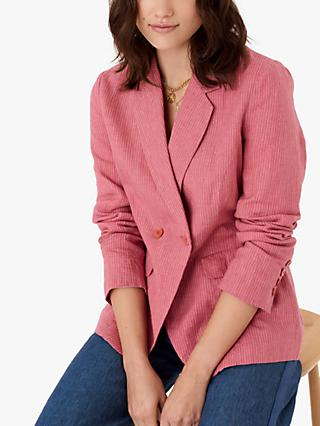 Brora Pin Stripe Blazer Jacket, Pomegranate