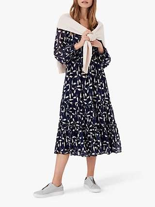 Brora Leaf Silk Midi Dress, Navy