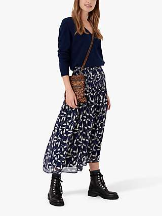 Brora Leaf Silk Midi Skirt, Navy