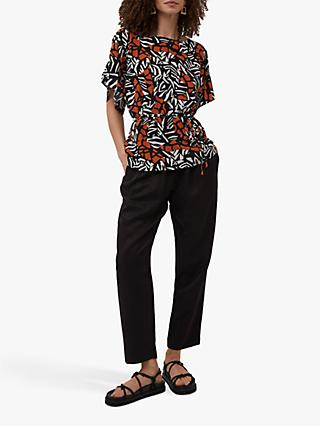 French Connection Afara Abstract Print Top, Black/Multi