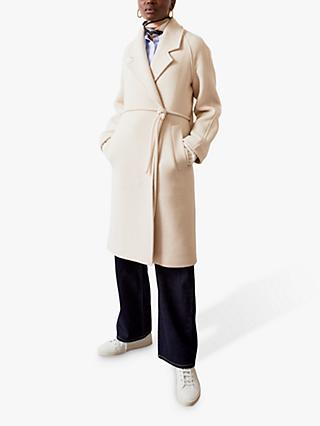 Jigsaw Brushed Belted Wool Coat, Cream
