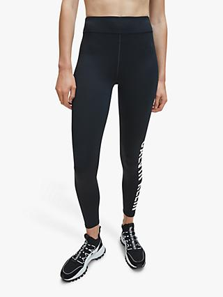 Calvin Klein Performance Side Logo Full Length Leggings, Black/Bright White