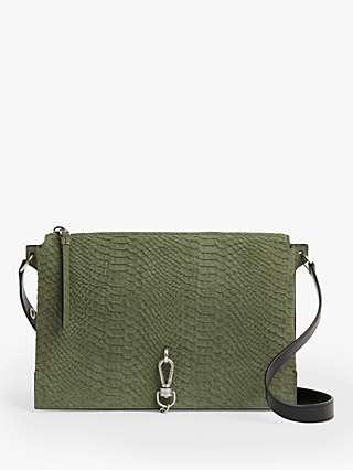AllSaints Sheringham Snake Effect Leather Shoulder Bag, Sage Green