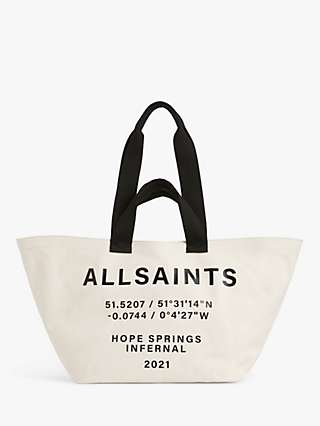 AllSaints Clarendon East West Hope Springs Infernal Typography Tote Bag