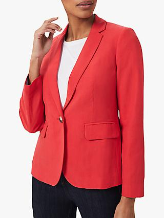Hobbs Trinity Silk and Linen Jacket, Red