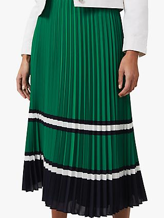 Hobbs Bess Pleat Skirt, Green/Multi