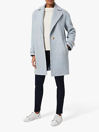 Hobbs Petite Herringbone Check Wool Coat, Blue/Ivory
