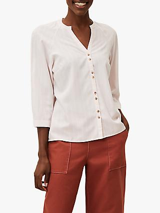 Phase Eight Tazanna Stripe Button Blouse, Pale Pink/Ivory