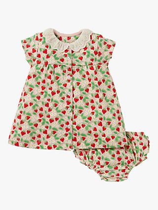 Mini Boden Baby Embroidered Collar Ditsy Strawberries Dress, Multi