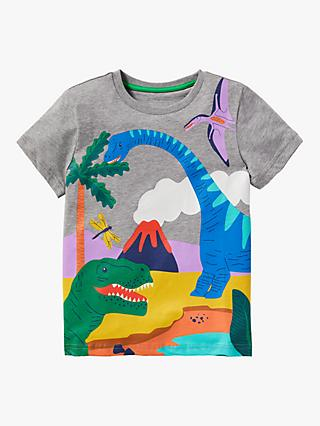 Mini Boden Kids' Tropical Dinosaur Scene T-Shirt, Grey Marl