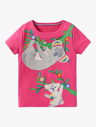 Mini Boden Children's Koala Safari Applique T-Shirt, Party Pink