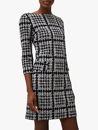 Phase Eight Amani Dogtooth Tunic Dress, Navy/Grey