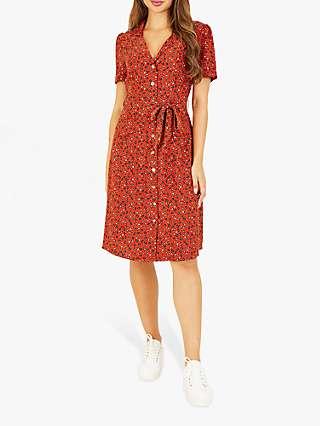 Yumi Animal Print Midi Shirt Dress, Burnt Orange