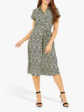 Yumi Animal Print Midi Shirt Dress, Green