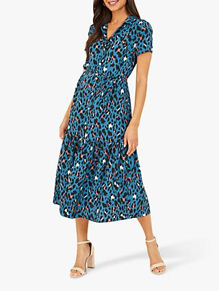Yumi Animal Print Midi Shirt Dress, Blue