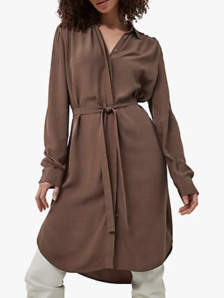 French Connection Clua Drape Shirt Dress, Walnut