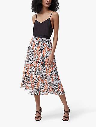 French Connection Afra Midi Skirt, White/Multi