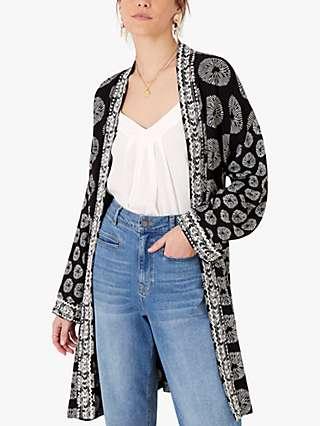 Monsoon Artisan Studio Circle Print Kimono, Black