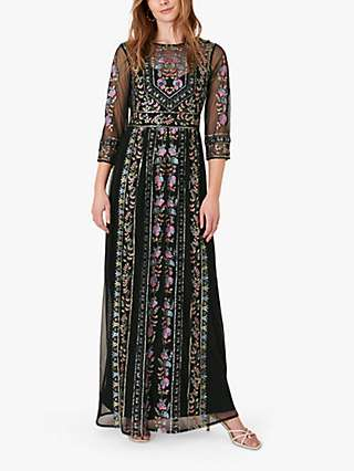 Monsoon Florencia Embellished Maxi Dress, Black