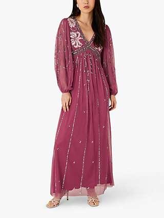 Monsoon Regina Embellished Maxi Dress, Pink