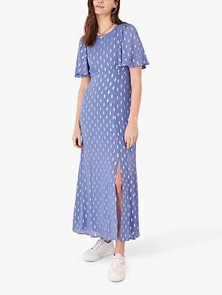 Monsoon Ann Metallic Spot Print Tea Dress, Blue