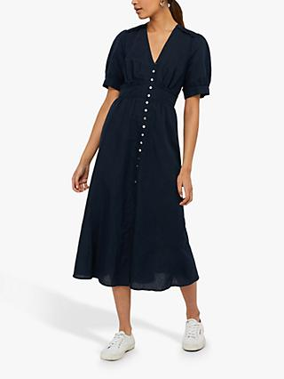 Monsoon Organic Linen Dress, Navy