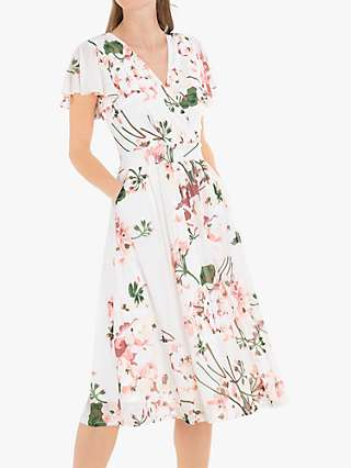 Jolie Moi Chailee Midi Dress, Cream Floral/Multi
