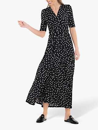 Jolie Moi Denise Ruched Waist Maxi Dress, Black Spot