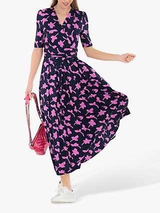 Jolie Moi Amaka Wrap Leaf Midi Dress, Navy