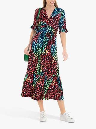 Jolie Moi Paola Tiered Midi Dress, Navy/Multi