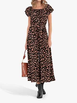 Jolie Moi Brittany Animal Print Jumpsuit, Black/Multi