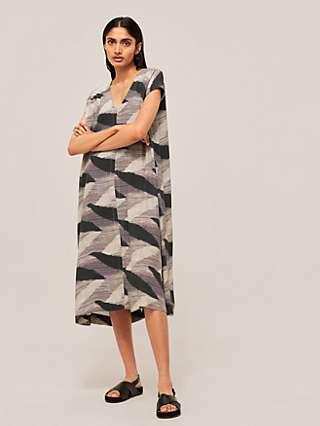 Kin Ikat Kaftan Dress, Black/Multi