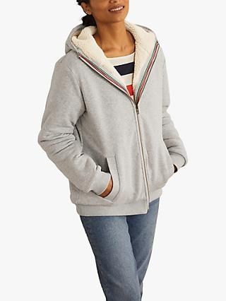 Boden Teddy Lined Zip Through Hoodie, Grey Marl