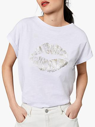 Mint Velvet Lips Slub T-Shirt, White