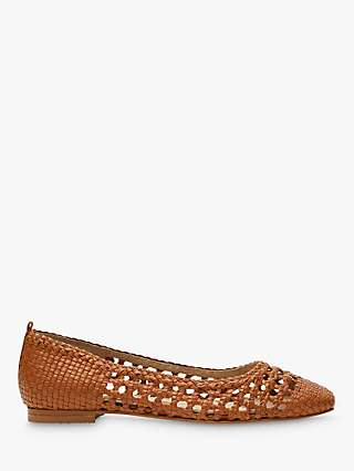 Boden Olive Woven Leather Ballerina Pumps, Tan