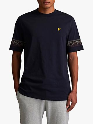 Lyle & Scott Crew Neck Fair Isle Sleeve T-Shirt, Z271 Dark Navy
