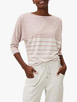 Phase Eight Shelly Striped Boat Neck Top, Pink/Ivory